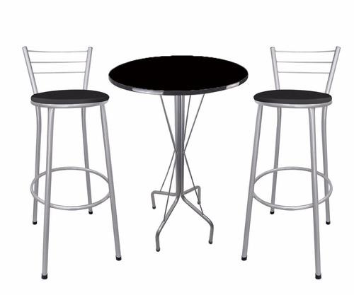 kit bar mesa bistro cinza 2 banquetas cinza assento preto