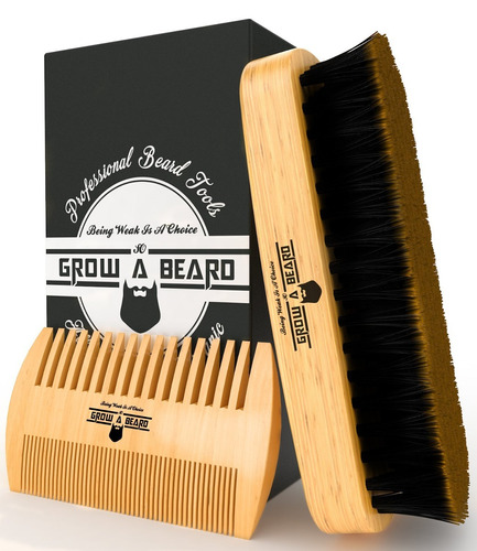 kit barba bambú grow a beard, caja regalo y bolso cómodo.