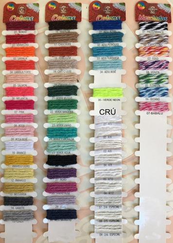 kit barbante colorido 16 unidades 700g lindas cores