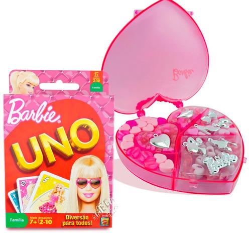 kit barbie estojo coração miçangas com jogo de cartas