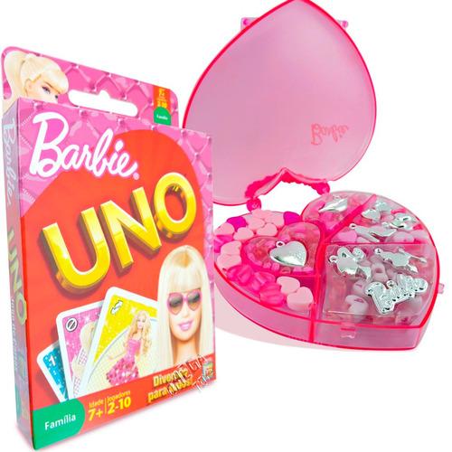 kit barbie estojo coração miçangas com jogo uno