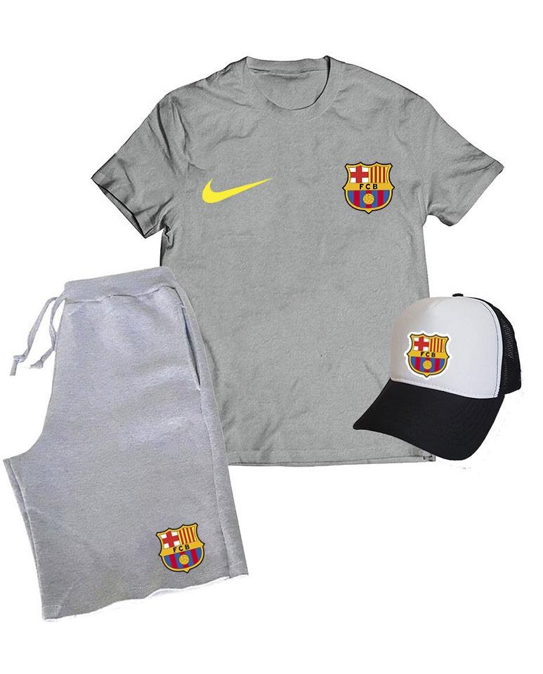 ffbc87d230f3f Kit Barcelona Esporte Camiseta Boné Bermuda Time Promoção - R  148 ...