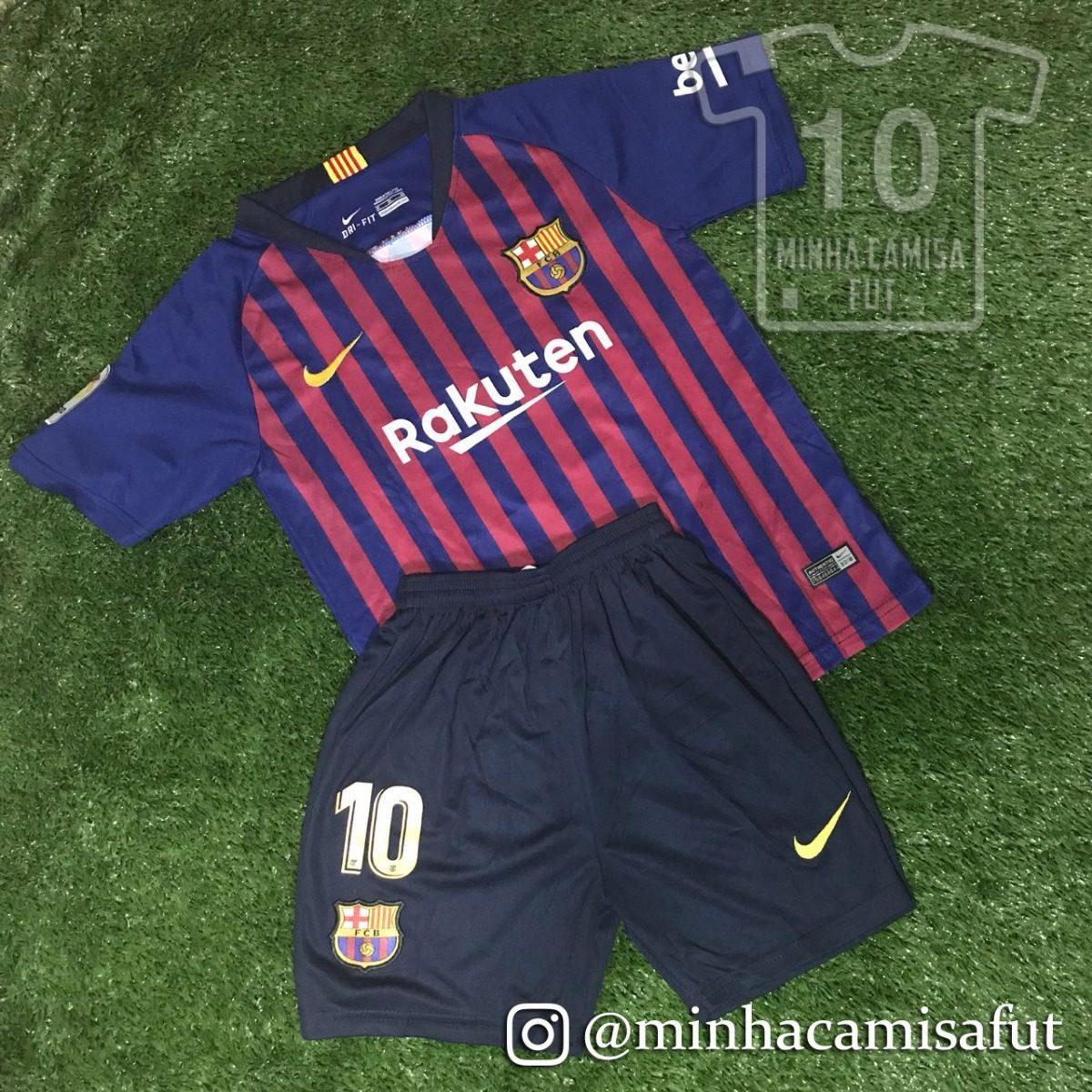 Kit Barcelona Infantil 18 19 Messi N° 10 Tamanho 8-9 Anos - R  200 ... 5cef92efdc090