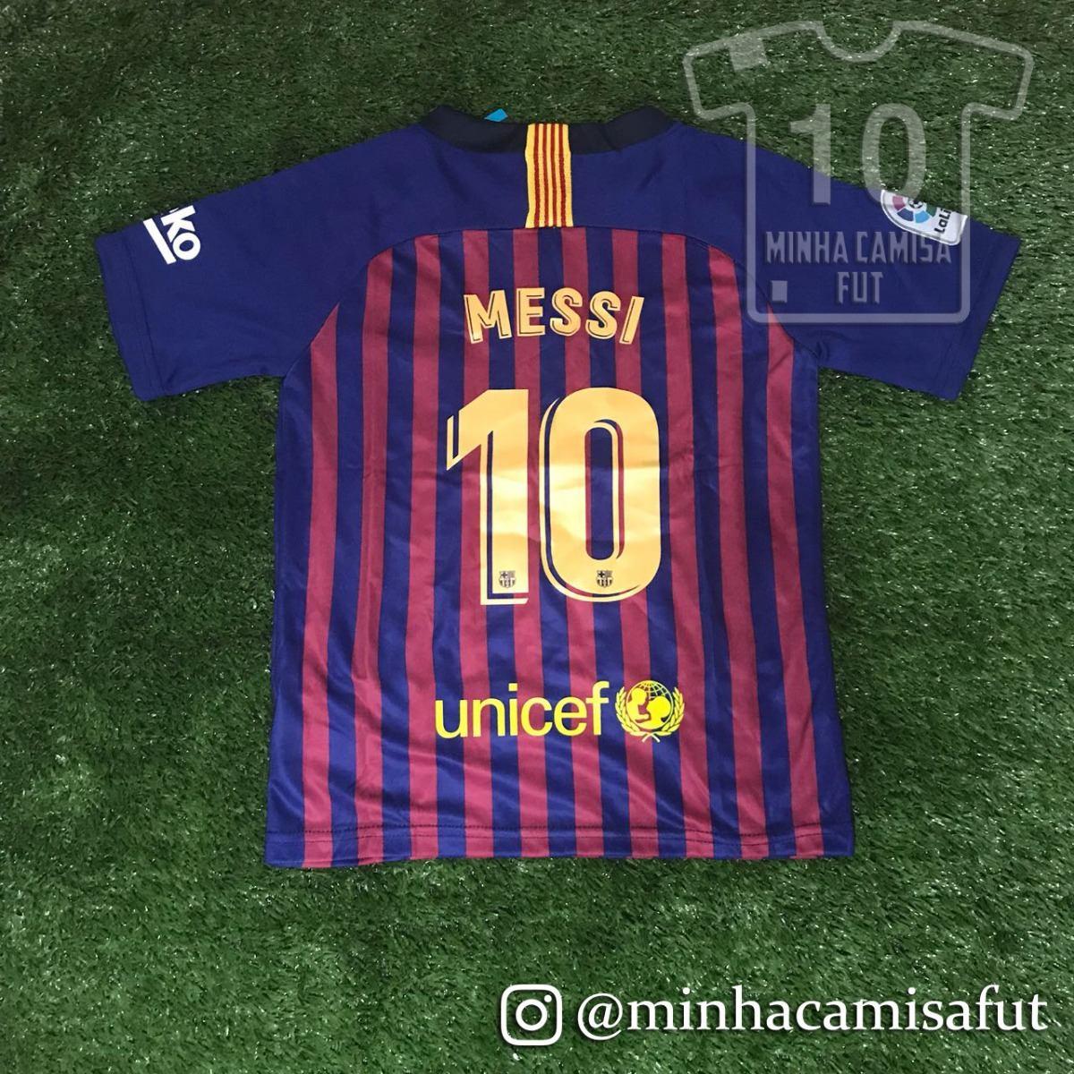 8420ae4ddf Kit Barcelona Infantil 18 19 Messi N° 10 Tamanho 8-9 Anos - R  200 ...