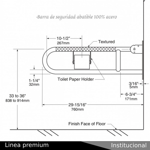 kit barra de seguridad abatible mas barra de 40cm acero 304