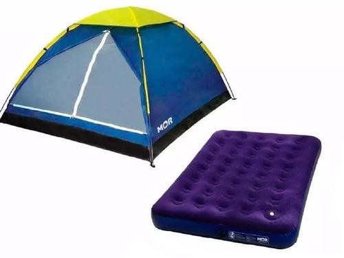 kit barraca camping iglu 4 pessoas + colchão casal inflavel