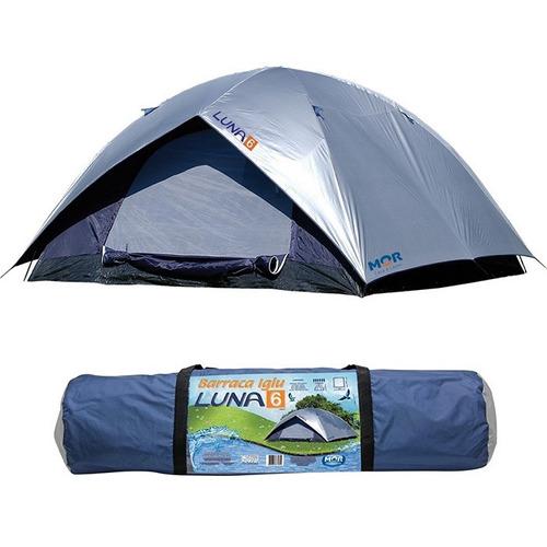 kit barraca iglu luna 6 pessoas + 2 colchão inflável casal