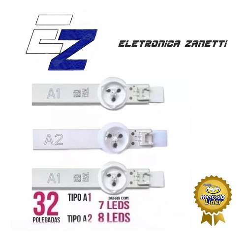 kit barras led lg 32ln5400 32ln540 2 barras a1 + 1 barra a2