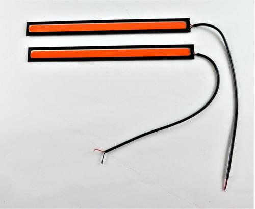 kit barras tira led cob 17 cm luz de dia niebla drl autos