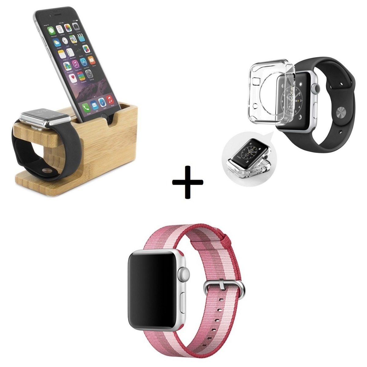 4d0fbcaf919 kit base apple watch e iphone bambu + pulseira nylon + case. Carregando zoom .