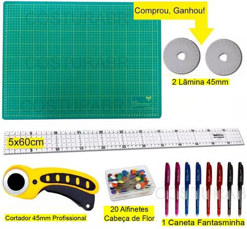 kit base de corte 60 +régua 60 +cortador patchwork scrapbook