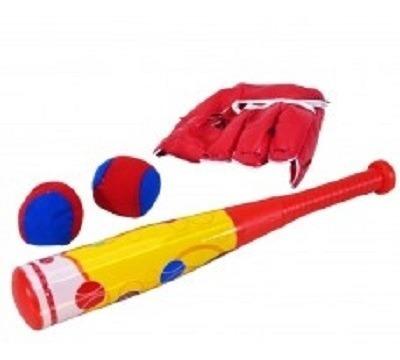kit baseball infantil com taco luva e 2 bolinhas esportivo p
