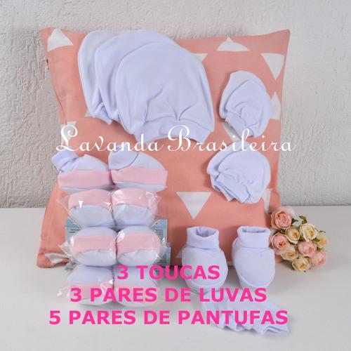 kit básico bebê rn touca luva pantufa branco e rosa promoção