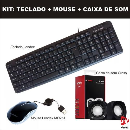 kit básico mouse optico, teclado padrão e caixa de som pc 6w