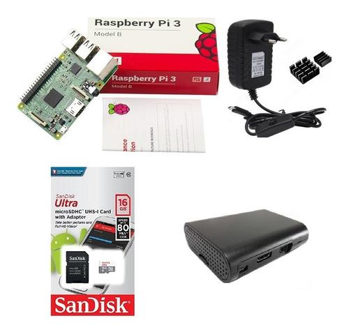 kit básico raspberry pi 3  16gb case black