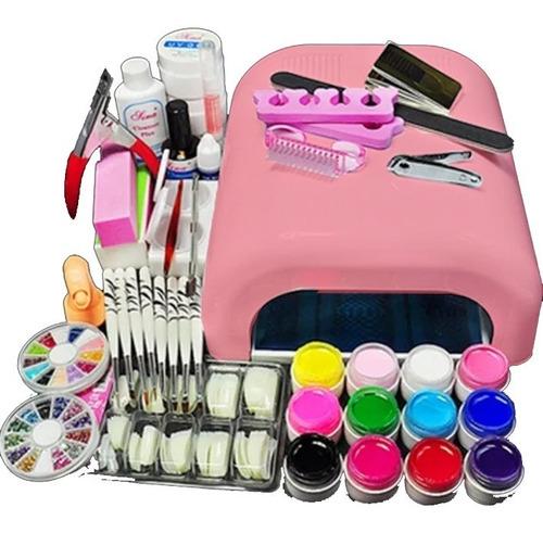 kit básico uñas acrílicas profesional manicure uv esmaltes