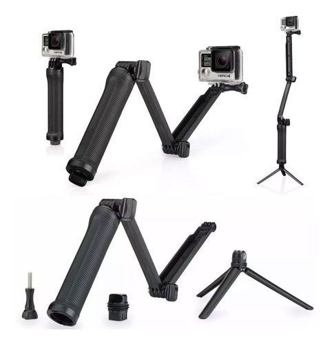 kit bastão 3 formas gopro black 7 6 5 4 2 3 3+ tripé 3 way