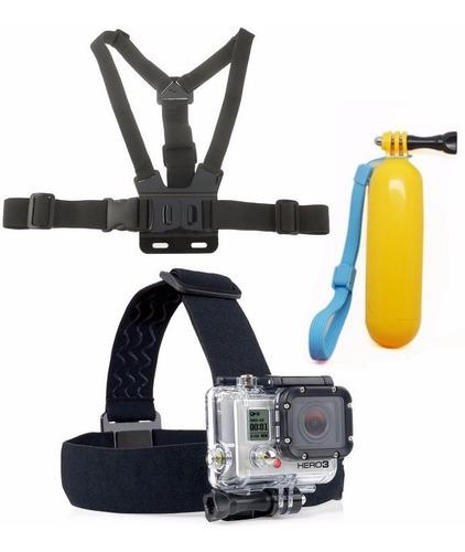 kit bastão flutuante + suporte de cabeça e peito gopro hero3