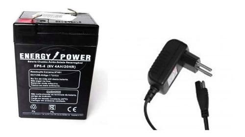 kit bateria 6v 4ah + carregador c/ led moto bandeirantes