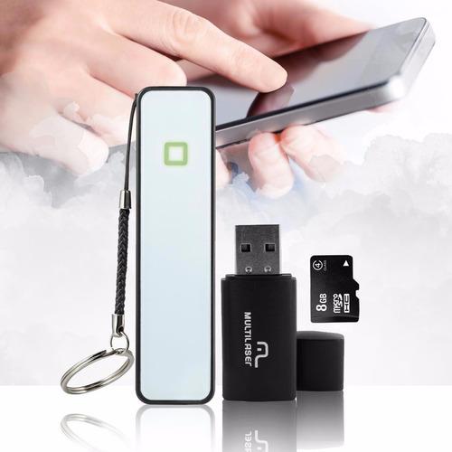 kit bateria power bank cartão de memória 8gb pendrive mc200
