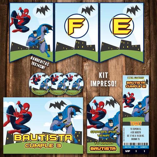 kit batman spiderman invitaciones banderin impreso