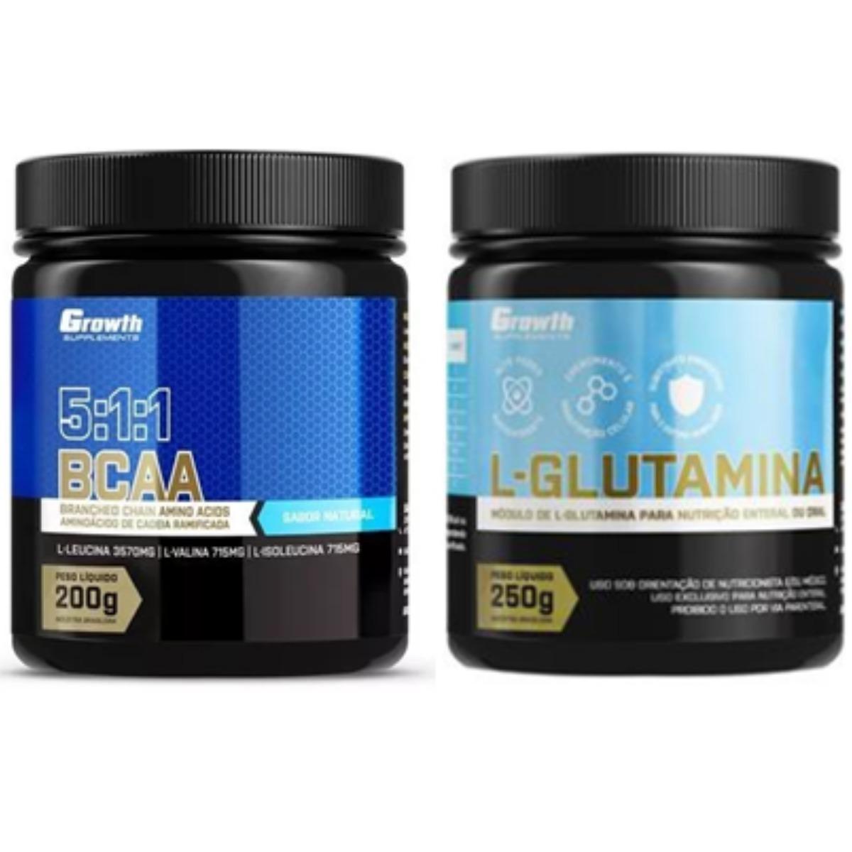 b977152a6 Kit Bcaa 5 1 1 + Glutamina - Growth - R  175