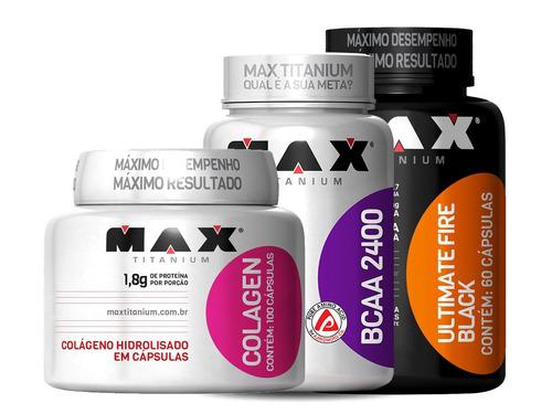 kit bcaa + colageno + emagrecedor fire black max titanium