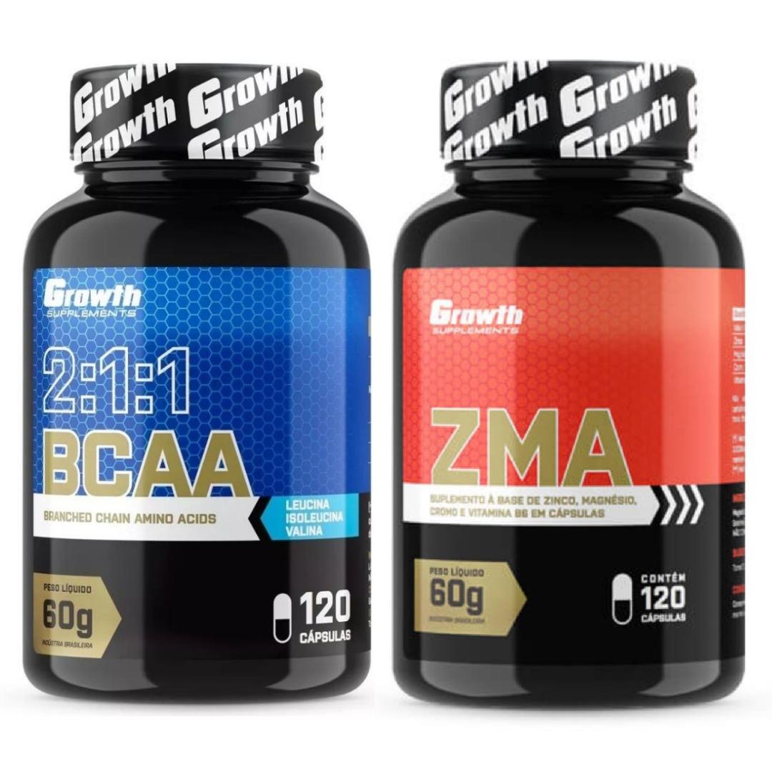 25e6c43c0 Kit Bcaa + Zma Growth Original 240 Cápsulas - R  78