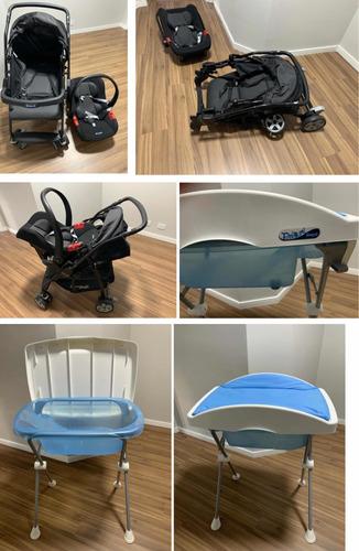 kit bebê conforto+carrinho de bebê+ banheira com trocador