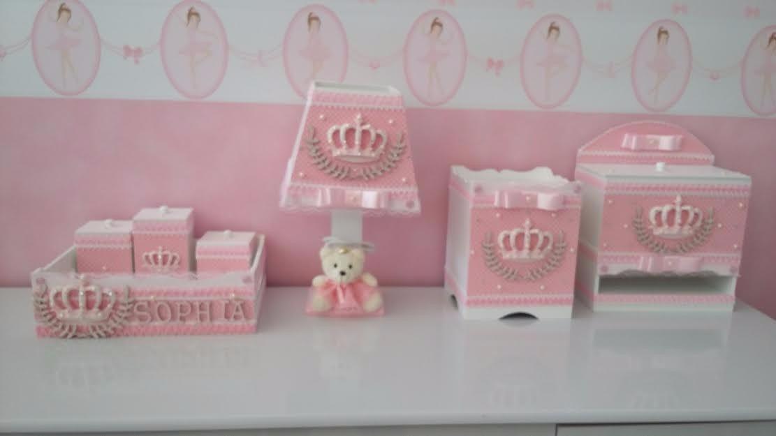 Kit Beb u00ea Higiene 8 Peças Em Mdf Ursinha Princesa R$ 295,90 em Mercado Livre -> Como Decorar Kit De Higiene Para Bebe Em Mdf