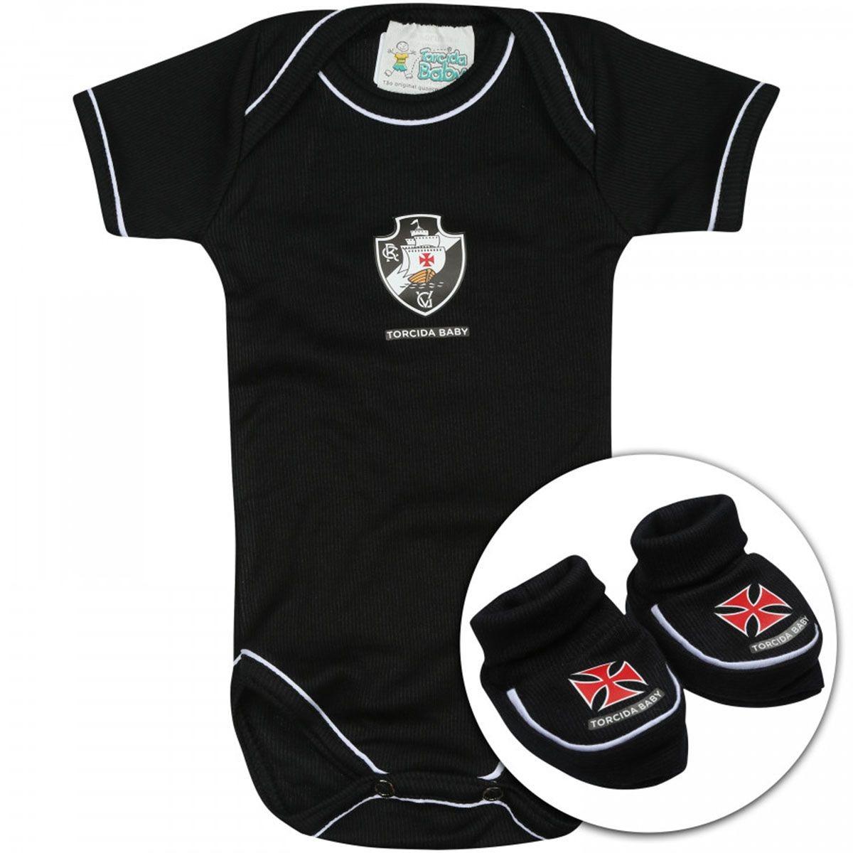 Kit Bebê Torcida Baby Vasco Curto Body+ Pantufa Frete Grátis - R ... 1ba67abac5047