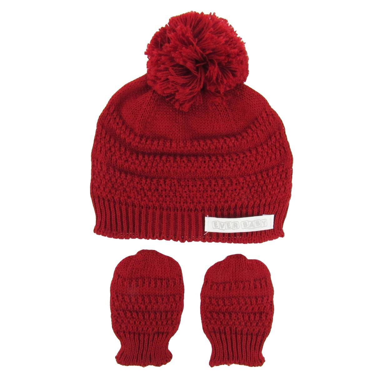 kit bebê unissex touca e luva vermelho -rn. Carregando zoom. 2cd1f8bde1e