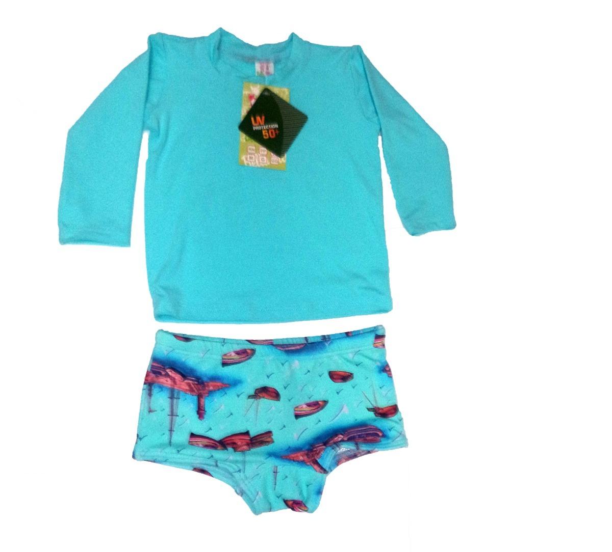 kit bebé 4 camisas e 2 sungas proteção uv solar upf 50+. Carregando zoom. 2e48eba9070