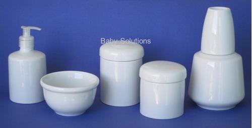 kit bebe higiene 4 pcs com garrafa de porcelana branca