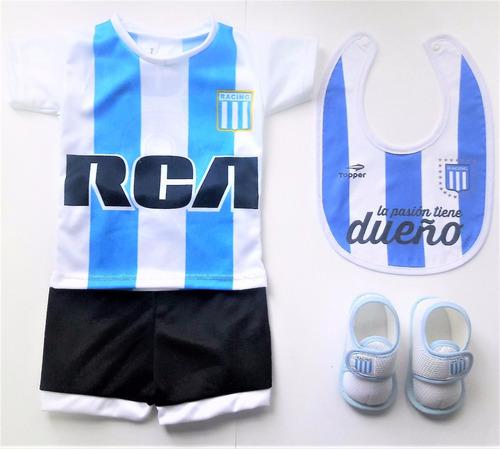 kit bebe racing club camiseta+short+escarpines+babero
