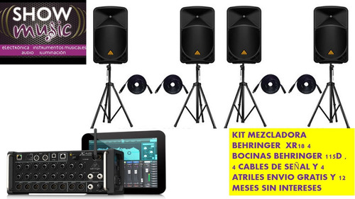 kit behringer 4bocinas amplificadas atriles,cables,consola