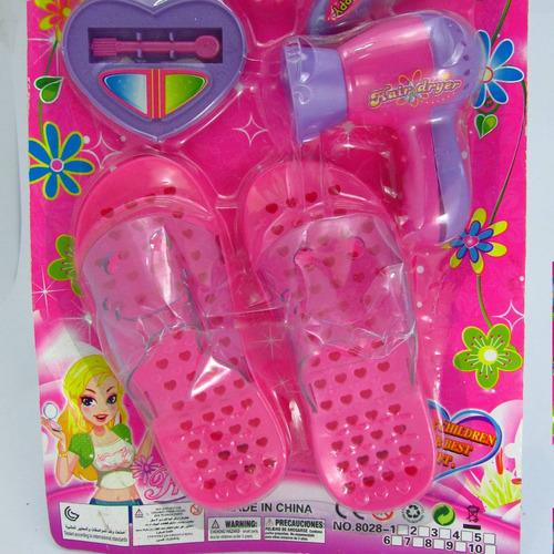kit beleza infantil brinquedo plástico óculos pente chinelo