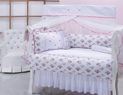 kit berço 11 peças com saia e cortina - beleza rara