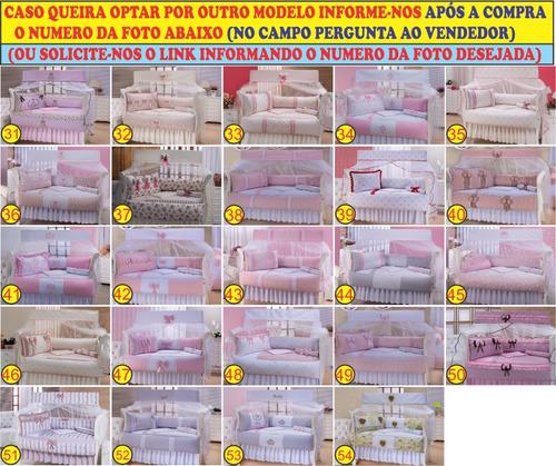 kit berço 9 pç bordado enxoval bebe ref 33 veja + 54 modelos