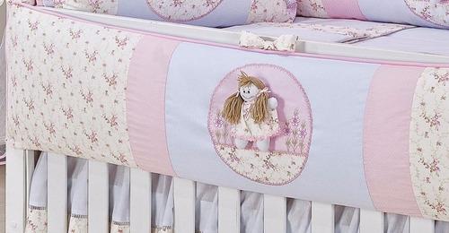 kit  berço  americano boneca rosa floral 9 peças 100% piquet