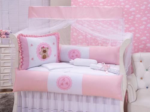 kit berço americano menina rosa 10 peças completo ursa tati