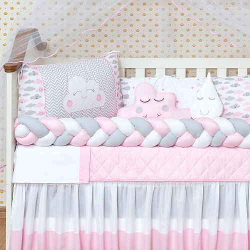 kit berço americano nuvem 10 peças bordado menina rosa lindo