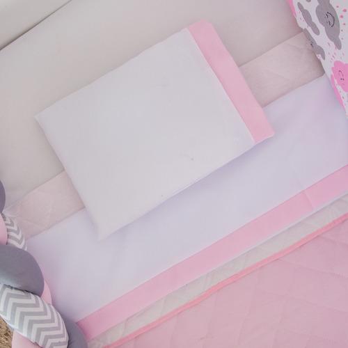 kit berço americano nuvem trança rosa 10 peças + saia grátis
