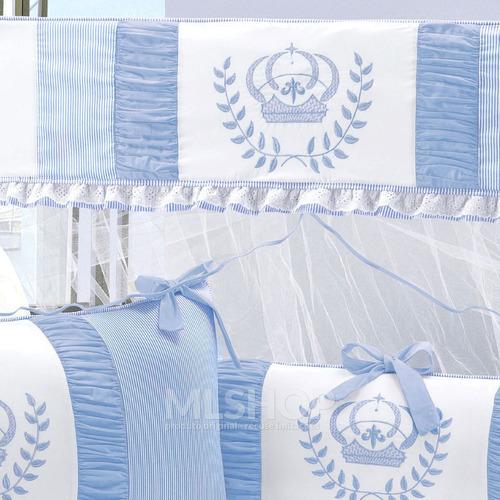 kit berço azul menino coroa clássico 8 peças realeza
