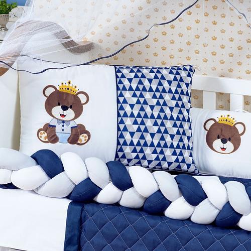 kit berço completo trançado urso menino azul 12 peças g