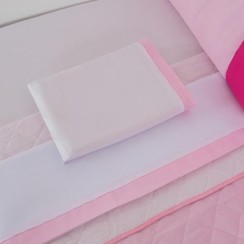kit berço coroa luxo menina rosa bebê promoção 11 peças