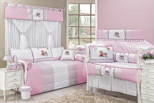 kit berço enxoval bebe+cortina 2m coleção florista cor rosa