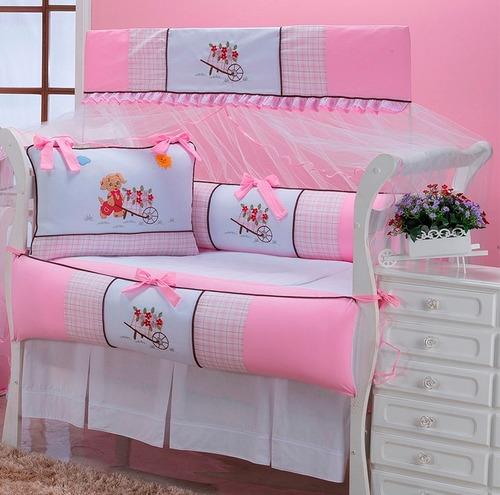kit berço florista 10 peças 100% algodão (rosa)