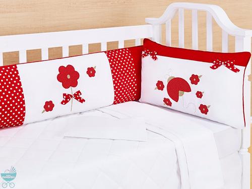 kit berço menina mimos joaninha vermelho 9 pçs enxoval bebê