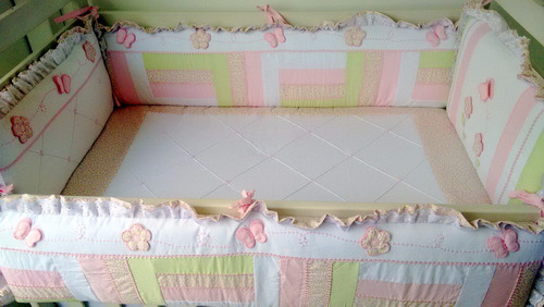 kit berço menina patchwork 201c - * frete grátis